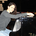 Martina at the Boesendorfer piano factory.